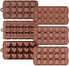 Silicone Mix Design Flower Chocolate Ice Candy Mould Randome Design wil Ship (Combo Pack of 2)