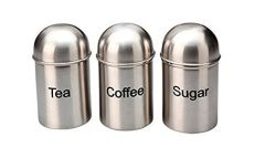 Branded Stainless Steel Sugar Tea Coffee Canisters Dome Lids - 700Ml, 500Ml, 350Ml -Matt Finish (Pack of 3)