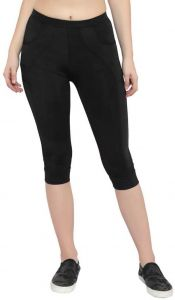 ADAAISTIC SPORTS Comfort and Stylish Lycra Capri For Women's (Black) (Pack of 1)