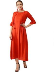 Solid Rayon Fabric, Stitched A-Line 3|4 Sleeves Kurti for Womens (Color:-Orange)