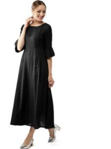 Solid Rayon Fabric, Stitched A-Line 3|4 Sleeves Kurti for Womens (Color:-Black)
