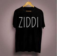 Ziddi Graphic Printed Cotton Round Neck Half Sleeves T-Shirt (Black)