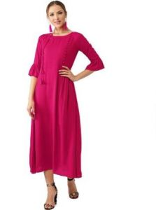 Solid Rayon Fabric, Stitched A-Line 3|4 Sleeves Kurti for Womens (Color:-Magenta)