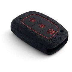 Mand High-Quality Silicone Car Key Cover Compatible For Hyundai Creta (Black) (Pack of 1)