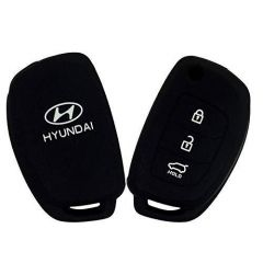 Mand High-Quality Silicone Car Key Cover Compatible For Hyundai Verna/I20/Xcent (Black) (Pack of 1)