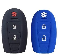 Mand High-Quality Silicone Car Key Cover Compatible For Suzuki Brezza (Black) (Pack of 1)