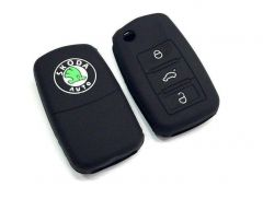 Mand High-Quality Silicone Car Key Cover Shell Compatible For Skoda Octavia (Black) (Pack of 1)