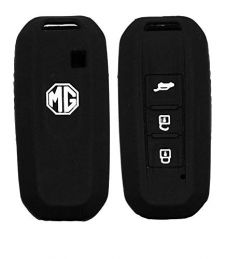 Mand High-Quality Silicone Car Key Cover Compatible With MG Hector Smart Key (Black) (Pack of 2)
