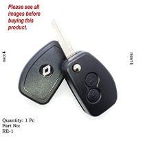 Remote Shell and Flip Key Conversion Shell For Renault Duster, Lodgy, Verito, Logan (Black) (Pack of 1)