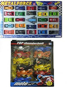 Die Cast Metal Force Car Set And Plasric Material Bike, Push And Pull Along Toys (Pack Of 2 Combo)
