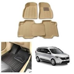 After Cars Cream Carpet Floor/Foot 4D Mats for Renault Lodgy