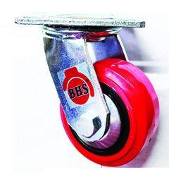 Bhs Heavy Duty Black Core Pu Plastic Swivel Rotation 360 Castor Wheels 125 X 50 (Package Contents: 1Pcs Single Wheel Puff Castor Wheels)