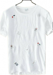 Regular Fit Solid Cotton Printed Short Sleeves Round Neck T-Shirts For Men (White) (Pack of 1)