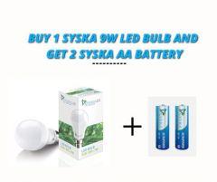 Syska Led 9 Watts Bulb (Pack of 1) and Get 2 Syska Aa Batteries