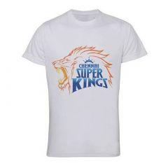 Chennai Super Kings Logo Printed Round Neck Half Sleeve T-Shirts For Men (White) (Pack of 1)