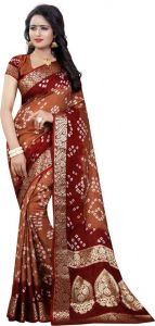 Women's Pure Art Silk Hand Print Bandhani Saree with Jacquard Border Saree & Blouse Piece (Pack of 1)