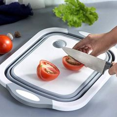 3 in 1 Multifunctional Silicon Based Kitchen Foldable Cutting | Chopping Board | Draining Basket with Plug | Folding Washbasin | Tray to Serve