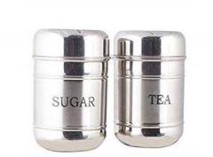 Aquiriosindia Sugar/Tea Container SetStainless Steel Material Sugar/Tea Container Set (Pack of 2)