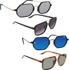 Stylish Mirrored, UV Protection Rectangular, Retro Square Sunglasses For Unisex (Pack Of 4)