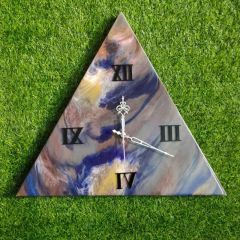 Wall Decore Triangle Clock With Multi-Color And Unique Designs (AD-04) (Pack of 1)