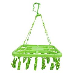 Latest Designed High Quality Cloth Drying Hanger with 32 Plastic Clips (Set of 1)