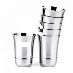 Stainless Steel Coconut B2 Glass Set for Water, Cold Drink, Lassi (200ml) (Pack of 6)