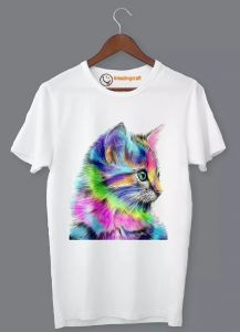 Frndmart Stylish & Fashionable Colorful Cat Casual Round Neck Printed T-Shirt For Men's (White)