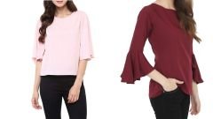 Pink Bell Sleeves And Stripped Bell Sleeve Top Combo