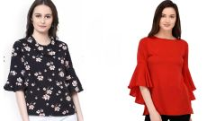Red Bell Sleeve And Black Floral Printed Top Combo