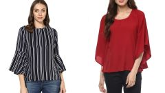 Red Bell Sleeves And Stripped Bell Sleeve Top Combo