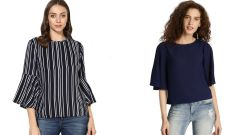 Navy Blue Half Sleeve Loose And Stripped Bell Sleeve Top Combo