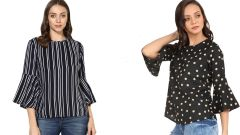 Black Bell Frill Sleeve And Stripped Bell Sleeve Top Combo