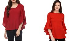 Red Bell Sleeve Top Combo