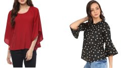 Black Bell Frill Sleeve And Red Bell Sleeves Top Combo