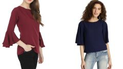 Navy Blue Half Sleeve Loose And Maroon Boat Neck Bell Sleeve Top Combo