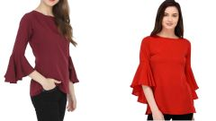 Red Bell Sleeve And Maroon Boat Neck Bell Sleeve Top Combo