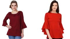 Red Bell Sleeve And Maroon Frill Neck Bell Sleeve Top Combo