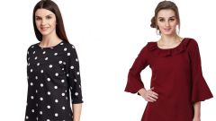 Black Polka Dots Printed  And Maroon Frill Neck Bell Sleeve Top Combo