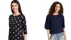 Black Polka Dots Printed  And Navy Blue Half Sleeve Loose Top Combo