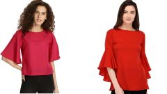 Red Bell Sleeve And Rosy Half Sleeve Loose Top Combo
