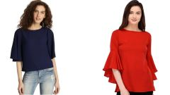 Red Bell Sleeve And Navy Blue Half Sleeve Loose Top Combo
