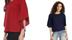 Red And Navy Blue Half Sleeve Loose Tops Combo