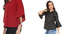 Red Half Sleeve Loose And Black Bell Frill Sleeve Tops Combo