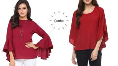 Maroon Umbrella Cut And Red Bell Sleeves Tops Combo For Women's