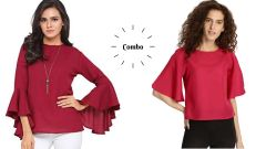 Maroon Umbrella Cut And Rosy Half Sleeve Loose Tops Combo For Women's
