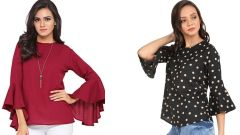 Bagrecha Creation-Maroon Umberalla Cut And  Black Bell Frill Sleeve Tops Combo -Bagrecha Creation-MUCST_2_BBFST_6