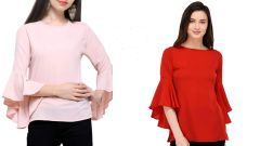 Red And Light Pink  Bell Sleeve Tops Combo