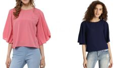 Navy Blue Half Sleeve Loose And Pink Bell Sleeves Top Combo