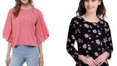 Pink  Bell Sleeves And Black Floral Printed Top Combo For Women
