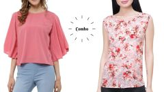 Pink  Bell Sleeves And Sleeveless Floral Printed Top Combo For Women